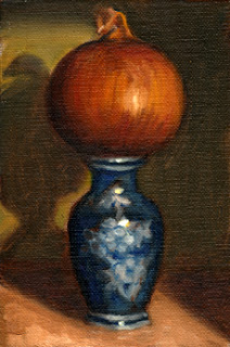 Oil painting of a brown onion on top of a miniature blue porcelain vase.