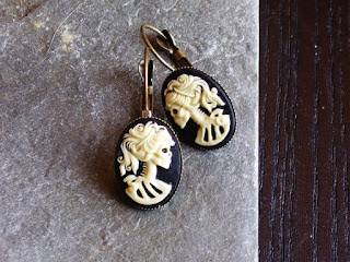 creepy and hilarious skeleton silhouette earrings from delicate jewelry