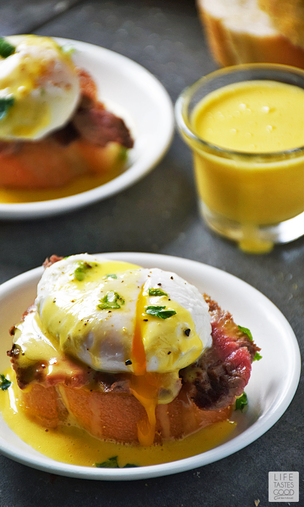 Assemble the Steak and Eggs Benedict Crostini