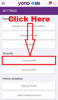 how to change sbi yono app mpin