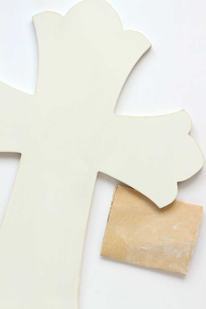 Distressing an unfinished wooden cross | pitterandglink.com