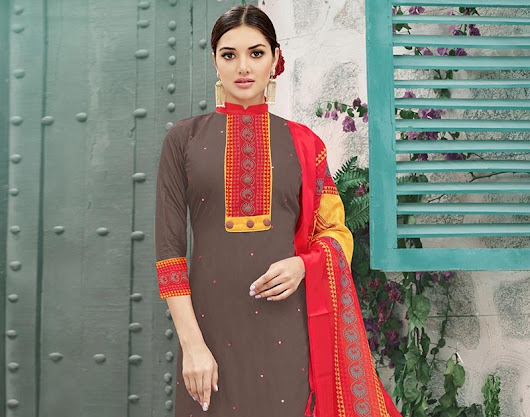 Darker mixed cotton churidar suit with printed embellishing
