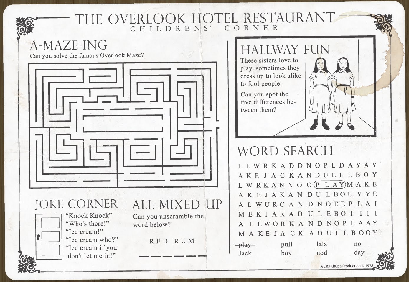 Zero Lives Overlook Restaurant Children S Menu