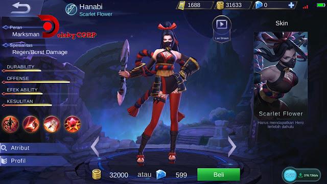 Mobile Legends : Hero Hanabi ( Scarlet Flower ) Full Damage Builds Set up Gear