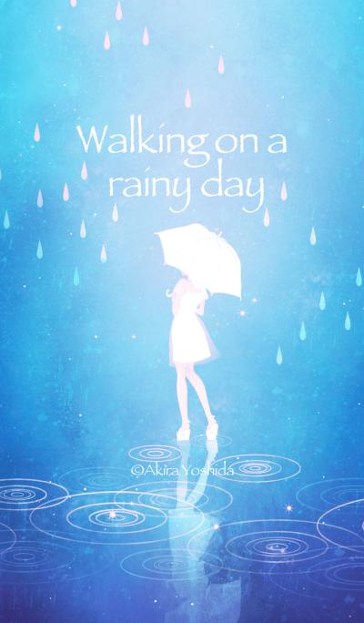 Walking on a rainy day