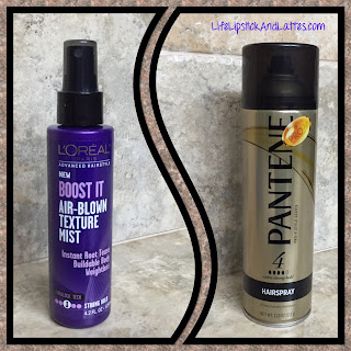 l'oreal boost it air blown texture mist, pantene pro-v series hairspray 4, hairspray, root boost, hair thickener, medium hold