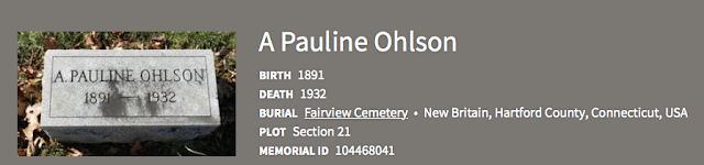 grave marker of Anna Pauline Ohlson, former Anna Pauline Swanson, Fairview Cemetary, New Britain, Connecticut