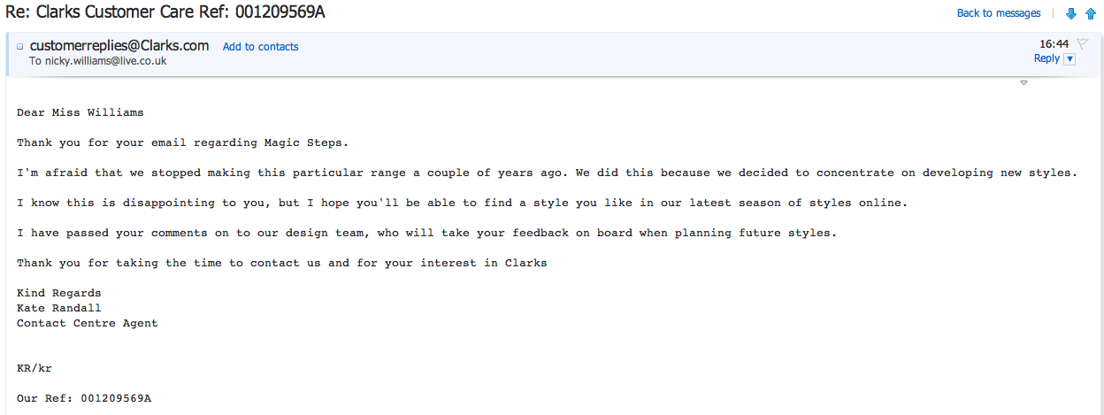 All those horrible things: Clarks customer service: prompt