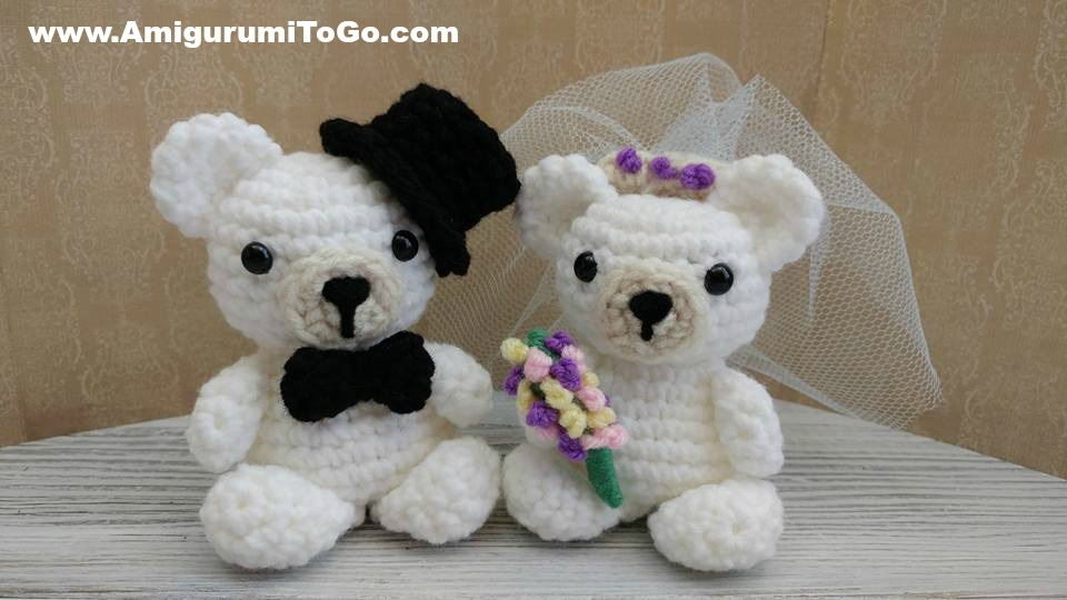 Crochet Mini Wedding Bears Amigurumi To Go