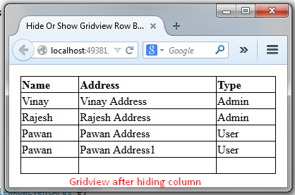 Hide Or Show Gridview Row By Column Name at RunTime In Asp