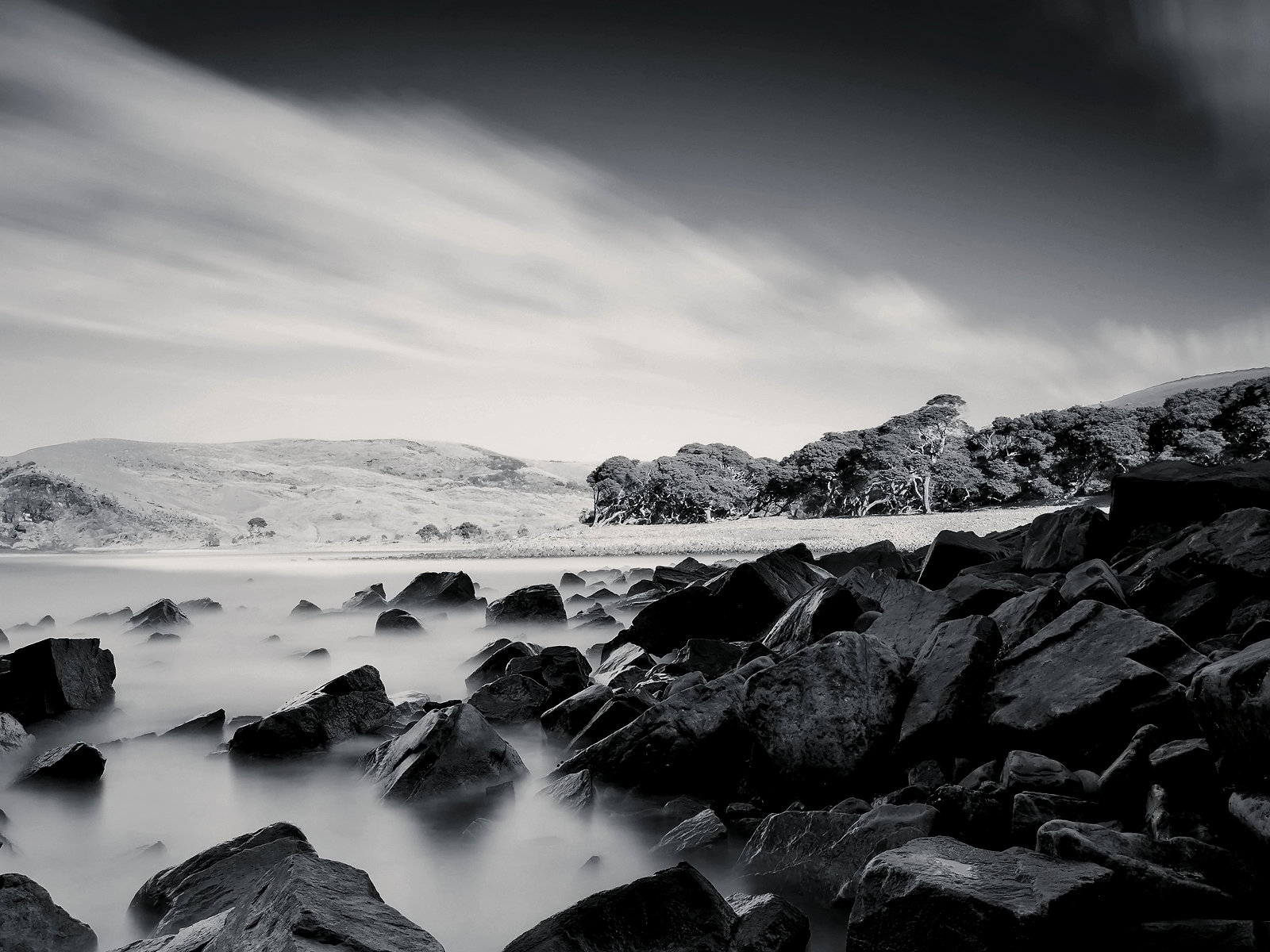 "Black and White Sea Coast wallpaper – ""It therefore ..."