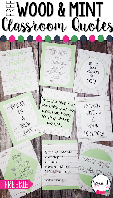 FREE farmhouse inspired white shiplap wood and mint themed classroom quotes