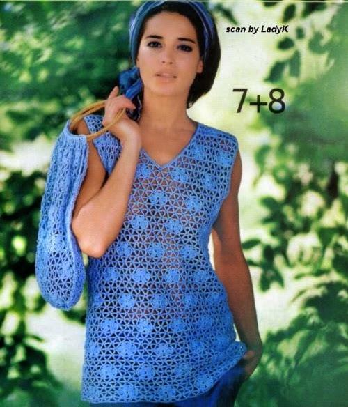 Blusa Azul de Malla a Crochet