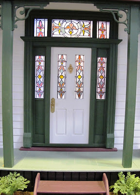 Front door of a one-twefth scale miniature traditional New Zealand villa
