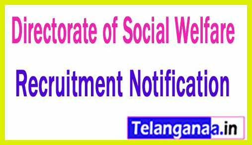 Directorate of Social Welfare DSW Recruitment