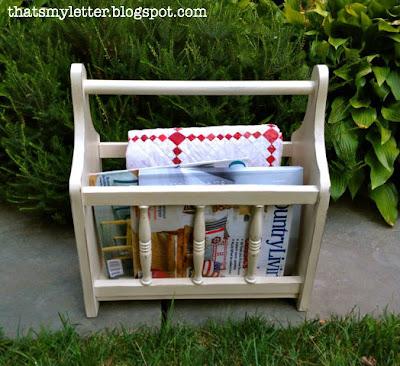 refinished magazine rack off white