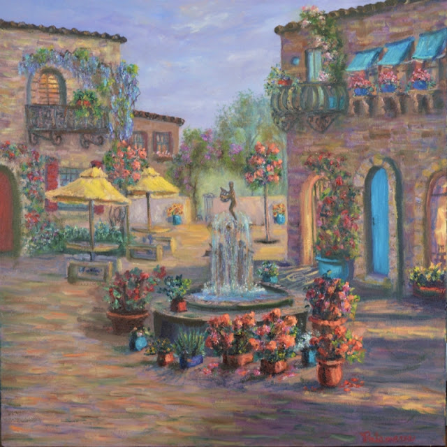 Painting of a Tuscan Courtyard with Flowers
