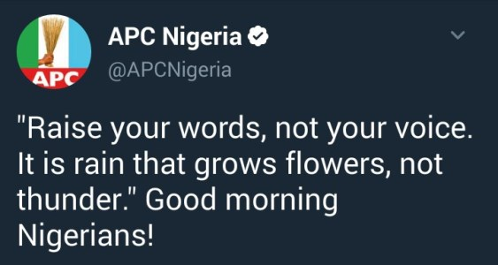 Nigerians Come For APC After The Party's Twitter Handle Shared A Quote About Rain Being More Effective Than Thunder In Growing Flowers