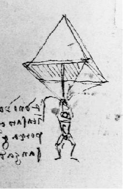 Desenho original do paraquedas de DaVinci - DaVinci´s Parachute origina drawing