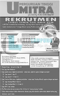 Open Rekrutmen di UMITRA Bandar Lampung Terbaru Agustus 2016