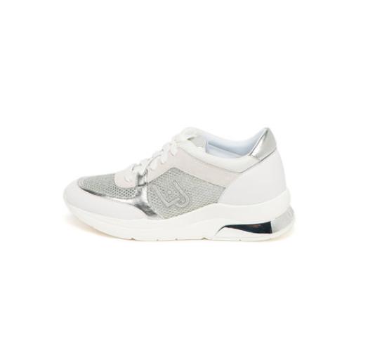 Pantofi sport dama Liu Jo cu insertii de plasa stralucitoare albi