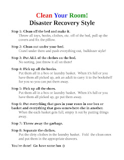 Clean Your Room Disaster Recovery Style printable