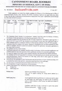 Cantonment Board Roorkee Junior Clerk Recruitment 2017-18