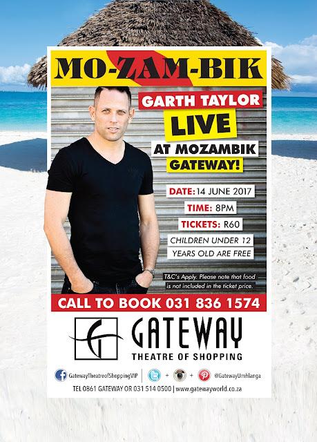 Garth Taylor to Perform at Mo-Zam-Bik @GatewayUmhlanga @TheGarthTaylor #14June2017