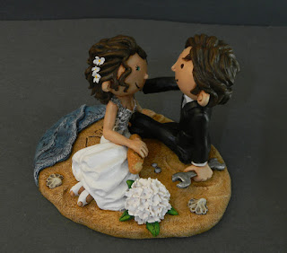 cake topper carino romantico sposini per torta fornaia idraulico orme magiche
