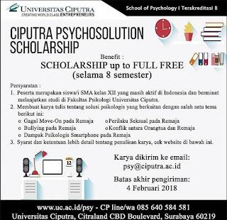 Beasiswa Study di PSY Univ. Ciputra 2018 Untuk SMA Kelas 12