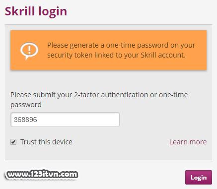 Kích hoạt bảo mật 2 lớp trên Skrill