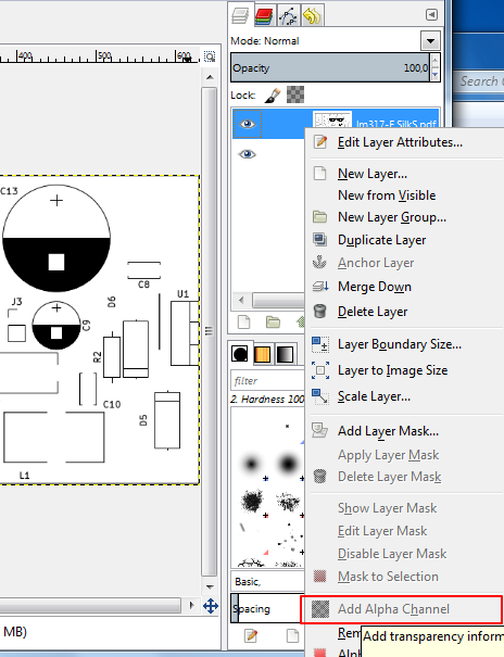 Add alpha channel to layer in GIMP
