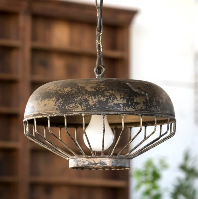 rustic chicken feeder pendant light