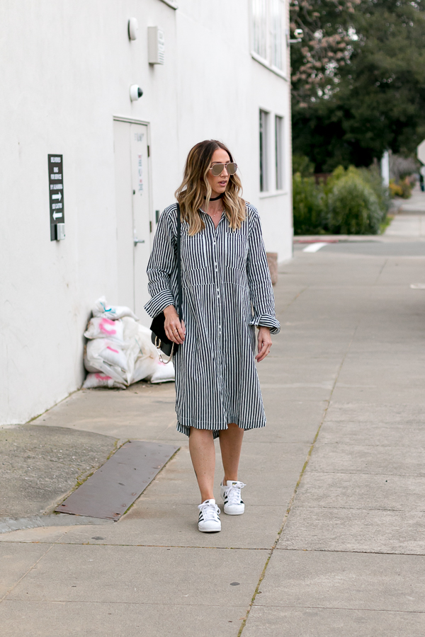 causal striped shirtdress style parlor girl