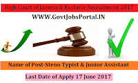 High Court of Jammu & Kashmir Recruitment 2017– 279 Steno Typist & Junior Assistant