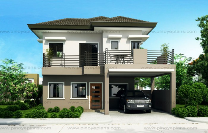 50 images of 15 two storey modern houses with floor plans Small double story house designs