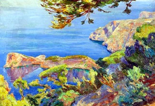 Juan Fuster Bonnin, Vista de Sa foradada, Paisajes de Mallorca, Mallorca en Pintura, Mallorca, Vista de Sa foradada