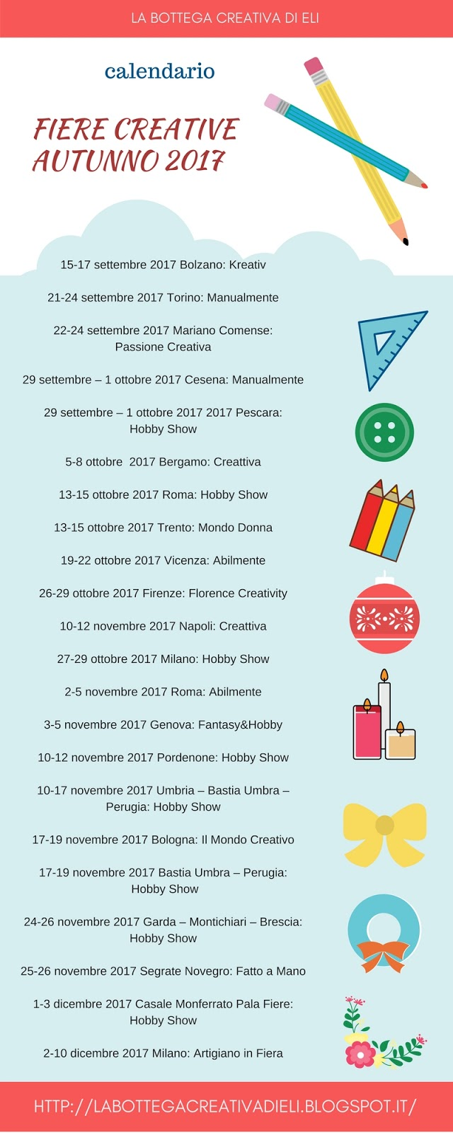 CALENDARIO FIERE CREATIVE AUTUNNO 2017