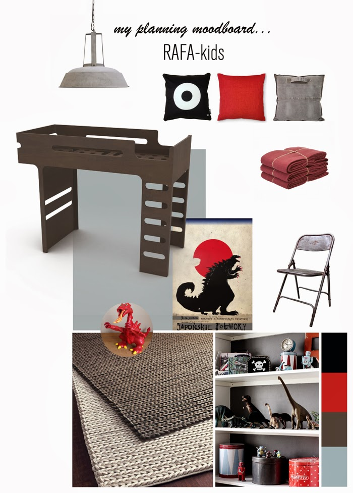 boy room with red&gray and dark chocolate bed from Rafa-kids