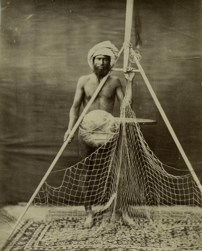 Indian Fisherman with his Net - c1880's