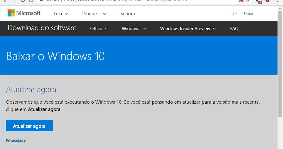 Baixar Windows 10 Creators Update via Chrome direto