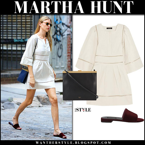 Martha Hunt in white cream mini dress isabel marant reone and velvet mules senso model off duty style august 16 2017