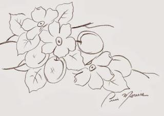 risco ameixa e flores