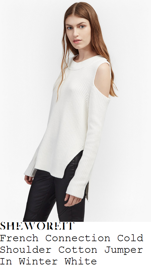 mollie-king-french-connection-winter-white-long-sleeve-cut-out-cold-shoulder-detail-textured-ribbed-trim-stepped-hem-cotton-jumper