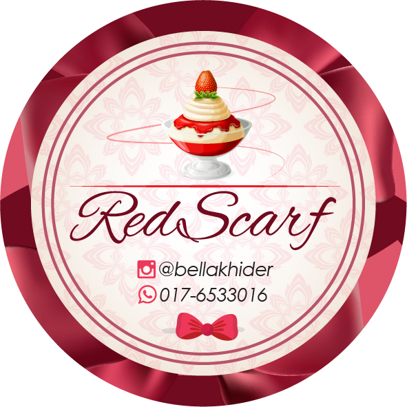 Sticker design untuk cookies red scarf