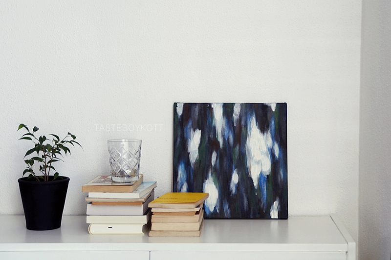 Acrylmalerei abstrakt weiß blau grün Kunst