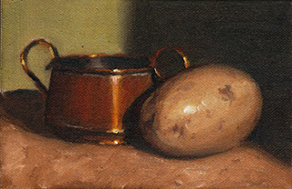 Oil painting of a small double-handled copper pot beside a potato.