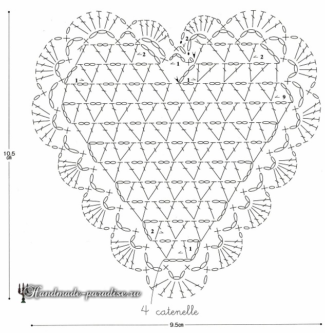 Сердечко крючком. Схема