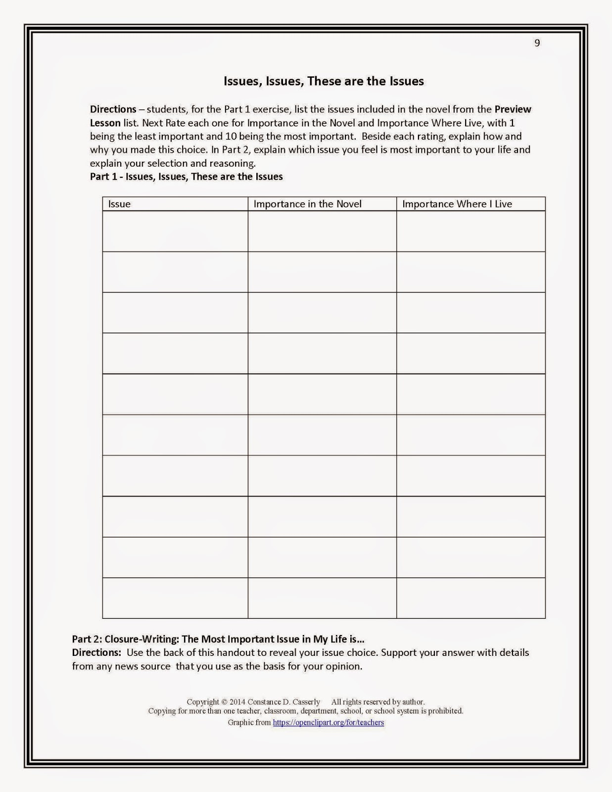 Character Conflict Theme Setting Plot Worksheet