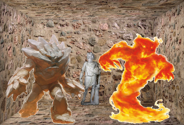 Earth and Fire Elemental in front of statue of Silvanus in the Place of the Unicorn